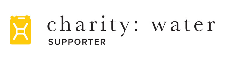 horizontal charity: water logo on white
